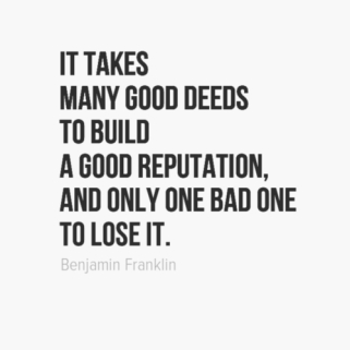Brand reputation quote from Benjamin Franklin