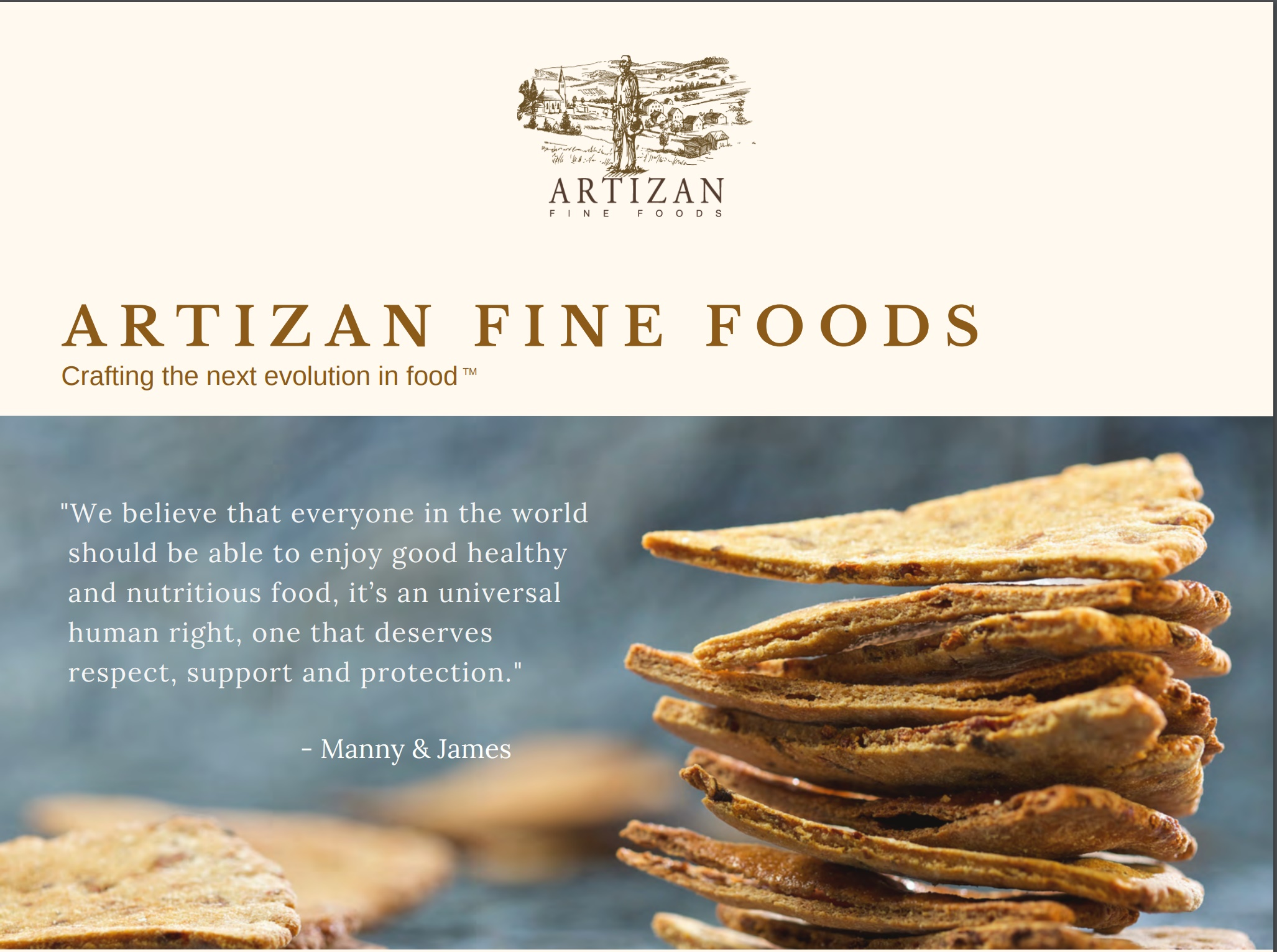 Artizan Fine Foods Pitch Deck Cover